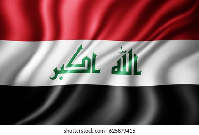 Iraq flag of silk-3D illustration