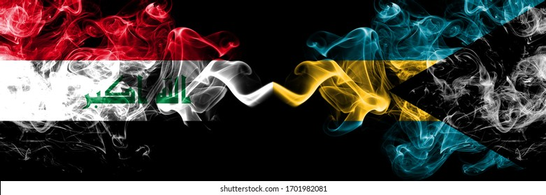 Iraq, Iraqi vs Bahamas, Bahamian smoky mystic flags placed side by side. Thick colored silky smokes flags together