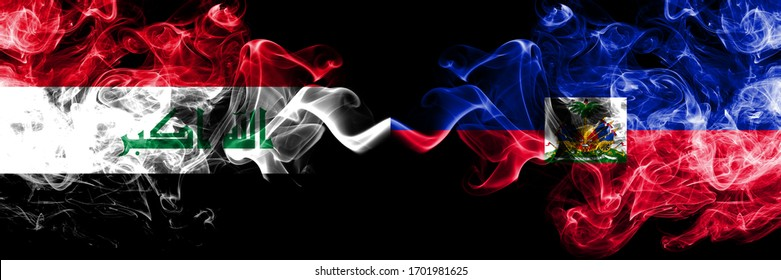 Iraq, Iraqi vs Haiti, Haitian smoky mystic flags placed side by side. Thick colored silky smokes flags together