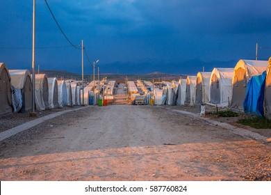 Iraq, Kurdistan - January 26, 2016: Street of the Kabertoo refugee camp in Iraq, Kurdistan.