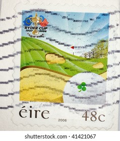 IRELAND - 2006: A stamp printed in Ireland shows image celebrating 80 years of the Ryder Cup golf competition, series, 2006
