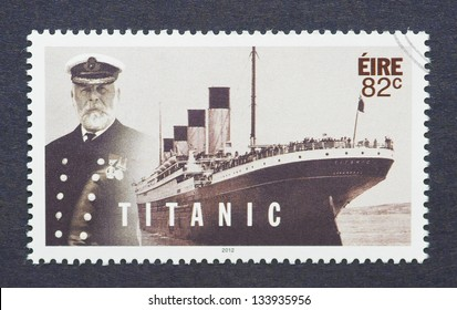 IRELAND - CIRCA 2012: a postage stamp printed in Ireland showing an image of Titanic, circa 2012.