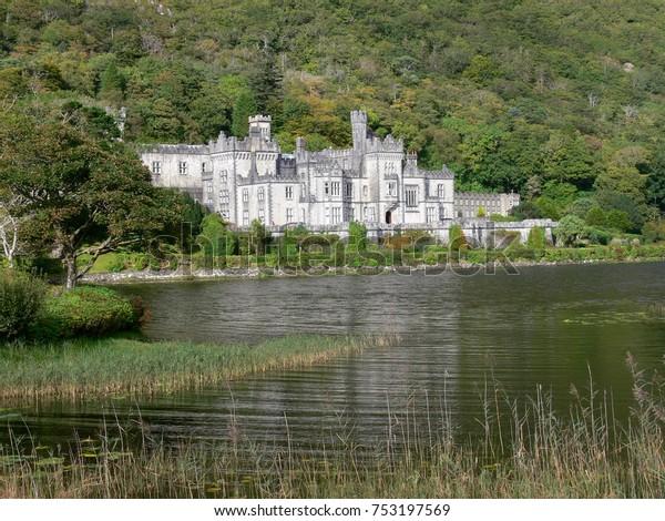 IRELAND, COUNTY GALWAY, CONNEMARA - SEPTEMBER 22, 2008: Benedictine monastery Kylemore Abbey in Connemara, Ireland