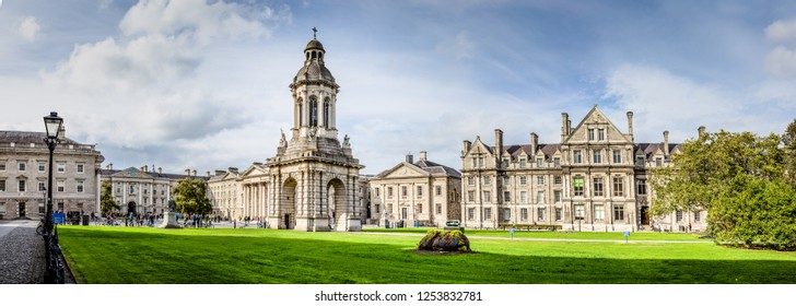 Ireland, Dublin - 19. 09. 2018. Panoramic view of old city Trinity college with classic architecture and green yard
