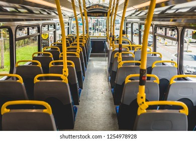 Ireland, Dublin - 21. 09. 2018. Interior of contemporary public bus second flour with rows of empty seats