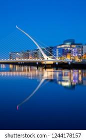 Ireland, Dublin - June 6, 2015: Samuel Beckett Bridge in night