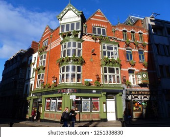 Ireland, Dublin, March 2018 The exterior facade of the famous O'Neill's restaurant located in the historic center of Dublin is a true traditional Irish pub
