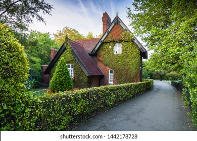 Ireland - Dublin - Mysterious hidden ivy-covered Ardilaun Lodge (aka the Gardener's Cottage) surrounded by St Stephen's Green park
