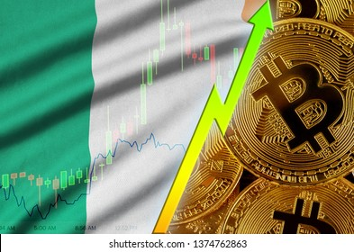 Ireland flag and cryptocurrency growing trend with many golden bitcoins