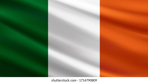 Ireland flag with fabric texture
