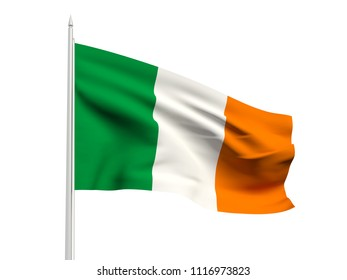 Ireland flag floating in the wind with a White sky background. 3D illustration.