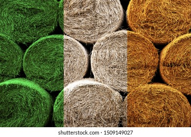 Ireland flag on the surface of a stack of hay rolls. Textured wallpaper background for creativity and design.