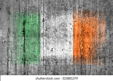 Ireland flag painted on background texture gray concrete