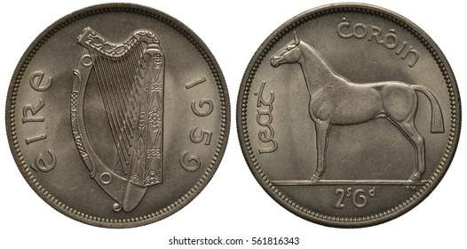 Ireland Irish coin 2 shillings 6 pence half crown 1959, Irish harp, horse, denomination below,