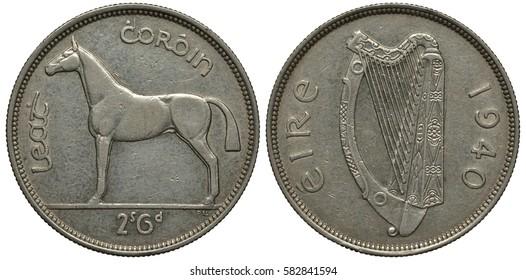 Ireland, Irish coin 2 shillings 6 pence - half crown 1940, horse left, harp, silver,