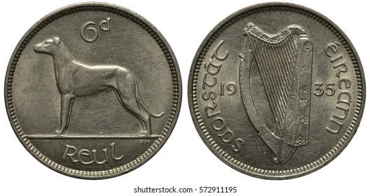Ireland Irish coin 6 six pence 1935, Irish wolfhound left, Irish harp divides country name and date,