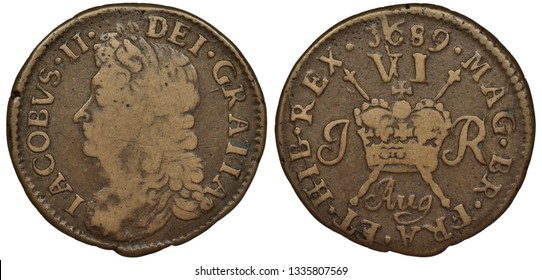 Ireland Irish copper coin 6 six pence 1689, head of King James II left, crown in front of crossed scepters divides monogram, denomination and date above,