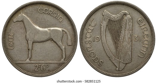Ireland Irish silver coin 2 two shillings 6 pence – half crown 1931, horse left, legend State of Ireland, harp divides date,