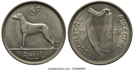 Ireland Irish silver coin 6 six pence 1928, dog, hound, legend State of Ireland, harp divides date,