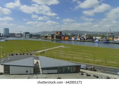 Ireland, MAY 9: Aerial view of Belfast cityscape from Titanic Exhibition Centre on MAY 9, 2017 at Ireland
