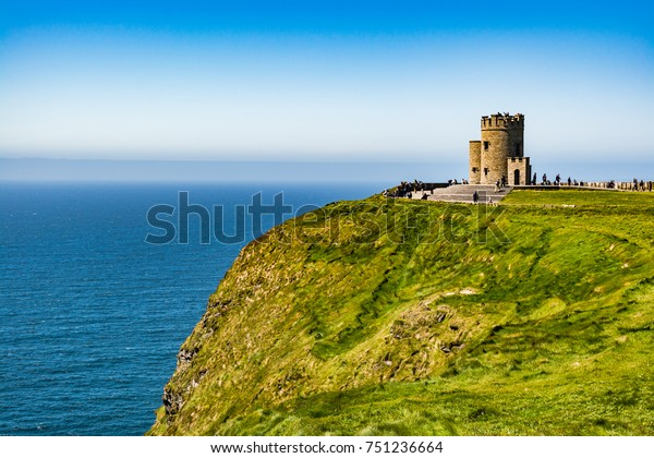 Ireland: O'Brien's Tower, marks the highest point of the Cliffs of Moher, on the western Atlantic Ocean coastline of Ireland