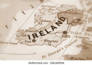 Ireland, officially Republic of Ireland (sepia selective focus).