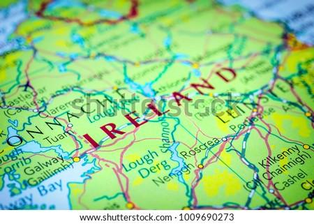 Ireland Map Of Europe.Ireland On Map Europe Stock Photo Edit Now 1009690273 Shutterstock