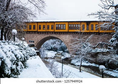 Irgandi Bazaar Bridge in Bursa,Turkey at Winter