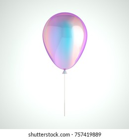 Iridescence holographic foil balloon isolated on gray background. Trendy realistic design 3d element for birthday, presentation, promo, party or other events.