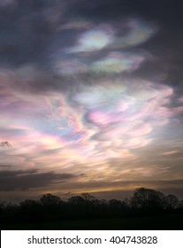 Iridescent, nacreous clouds over North Yorkshire, Northern England, just before dawn in February 2016. Also known as mother-of-pearl clouds.
