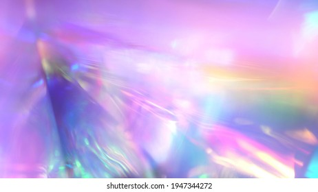 Iridescent sparkling glow. Led neon purple pink gold glowing. Refraction of rays through a prism. Abstract festive moving background for holiday