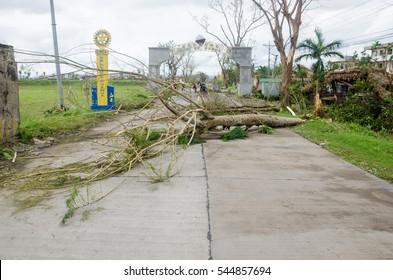 Iriga City, Camarines Sur, Philippines - December 2016: Typhoon Nina aftermath