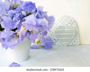 iris flowers and heart, background for text