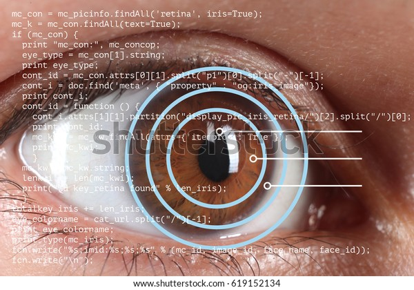 Iris Retina Scanner Being Used On Stock Photo (Edit Now