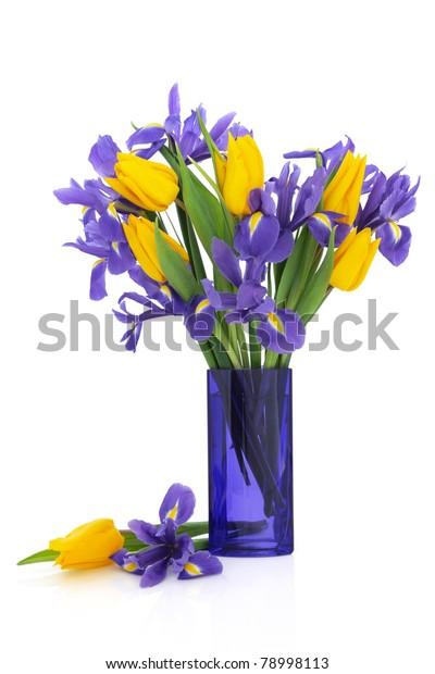Iris Yellow Tulip Flower Arrangement Blue Stock Photo Edit Now 78998113