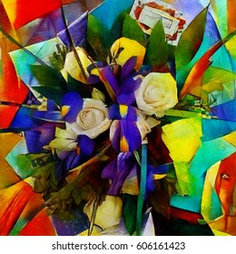 Irises. Abstract floral composition in a cubist style. Executed in oil on canvas with elements of pastel painting. For interior and gift.