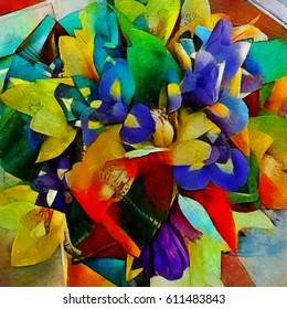 Irises. A bouquet of beautiful flowers in a modern style and cubism from Picasso. Executed in oil on canvas with elements of fine art pastel painting. For gift and interior.