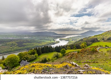The Irish border, Flagstaff Viewpoint on Fatham Hill near Newry you have a wonderful view over Carlingford Lough, the Mourne Mountains and Cooley Mountains.