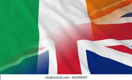 Irish and British Relations Concept - Merged Flags of Ireland and UK 3D Illustration