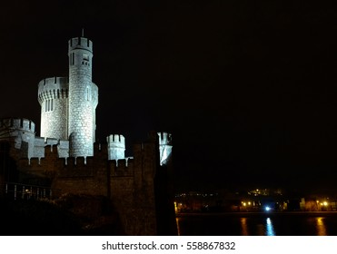 Irish Castle illuminated at night Blackrock