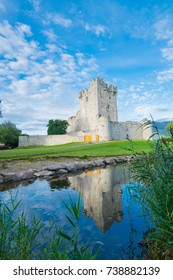 Irish castle ruins of Ross Castle on shore of Ross Lake, Killarney National Park, County Kerry