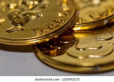 Irish coin close up