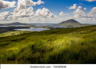 Irish countryside landscape with atlantic ocean in the background. Landscape Ireland