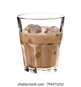 Irish creme liqueur  pouring with ice. Baileys liqueur in glass isolated on white.