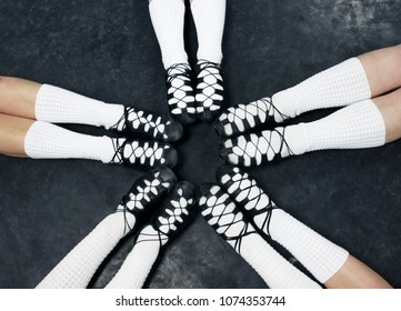 Irish Dance Female Legs and Ghillies Soft Shoes in a Ring/Circle with Toes Pointed Pattern
