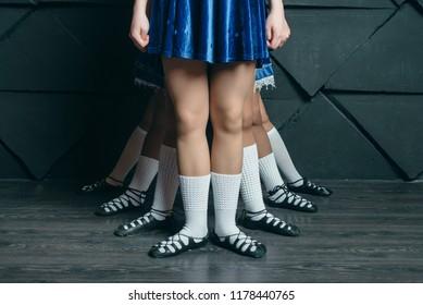 Irish dance, the legs of the dancers,