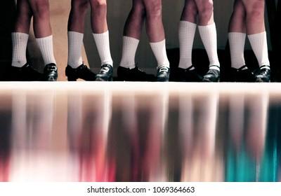 Irish Dancers in Hard Shoes in a Line