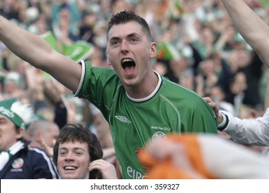 Irish fans celebrate after Ian Hartes' opening goal. Ireland V Israel,World Cup Qualifier, 04 June 2005,Lansdowne Road,Dublin.