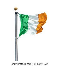 Irish flag of Ireland isolated over white background