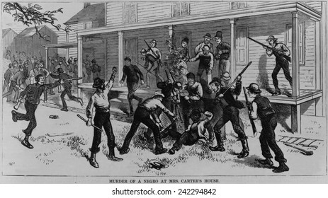 Irish laborers killing an African American worker in Patenburg, New Jersey, October 1872. The victim was one of four railroad workers killed by their Irish counterparts a race riot.